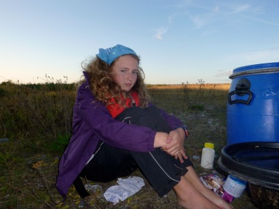 At camp on one of the expeditions